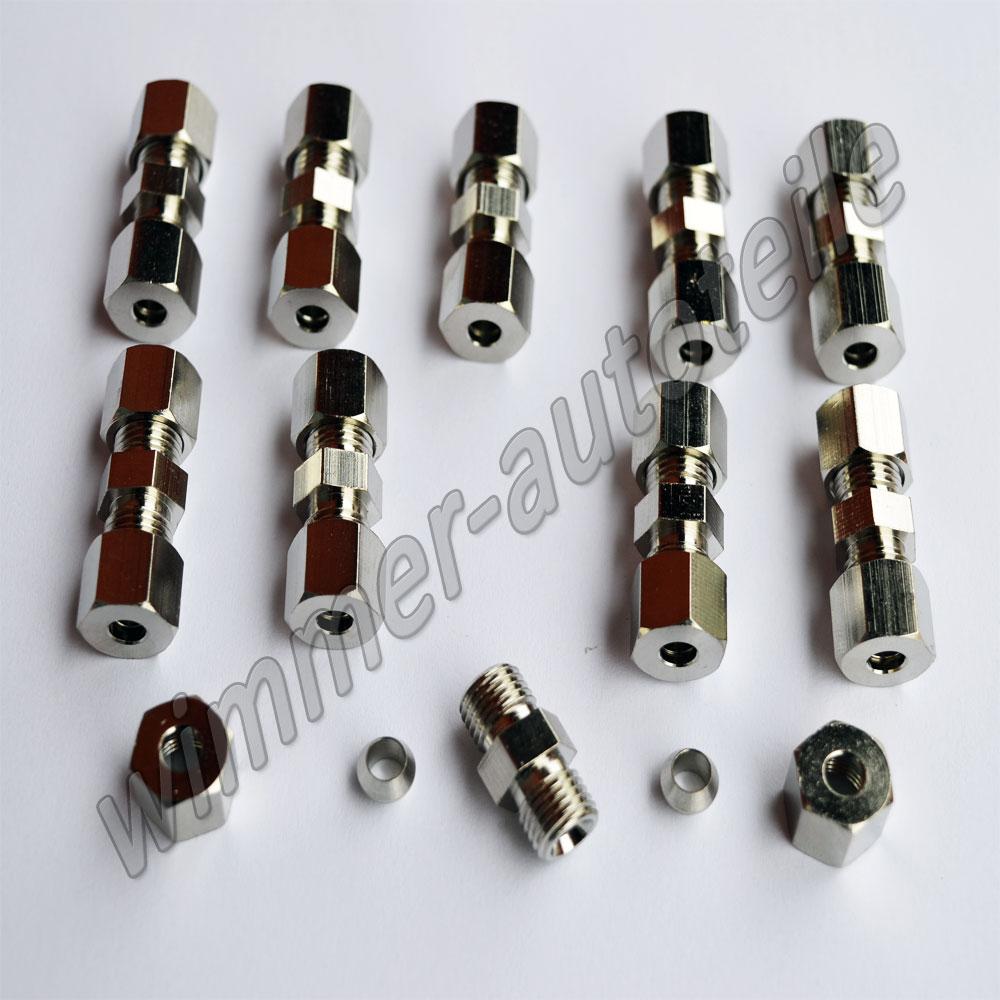 3x Bremsleitungsverbinder für Bremsleitung 4,75mm ohne zu bördeln Verbinder